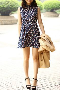 Floral Print Sleeveless Dress OASAP.com