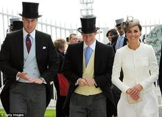 Princes William and Harry, (in the customary top hats and tails), and Will's wife, the Dutchess of Cambridge, arrive at the Epsom Derby. Via the Daily Mail Online.