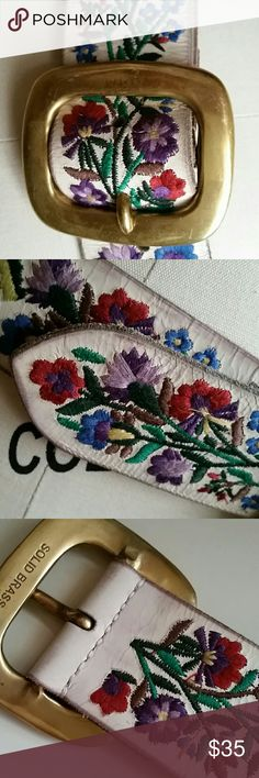 "Lucky Brand Leather & Embroidered Size 28 Belt New but see pics. Top leather crinkled but no damage, solid brass buckle some scratches, beautiful with jeans and white shirt. Can be worn on waist or hips. First hole at 30"", last at 34"", suede backing. Lucky Brand Accessories Belts"