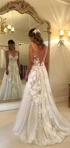 Lace Applique Ivory Wedding Dresses V-neck Backless Wedding Gowns TYPE Hochzeitskleid Wedding Dresses Near Me, Cheap Wedding Dress, Wedding Party Dresses, Bridal Dresses, Backless Wedding Dresses, Beach Wedding Gowns, Lace Dresses, Ivory Lace Wedding Dress, Spring Wedding Dresses
