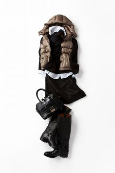 Black/bronze brown puffer vest