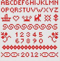 Plain-ish cross stitch alphabet, numbers, a few borders, basket, small animal (cat? dog?) teeny tiny stuff. // Steekjes & Kruisjes van Marijke: Gratis patroontje