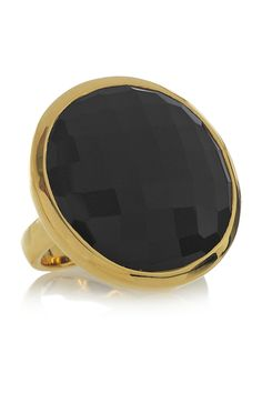 18-karat gold-vermeil onyx ring by Monica Vinader