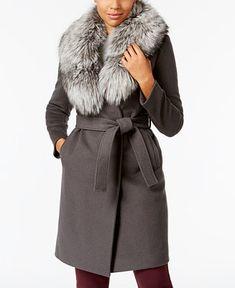 Elie Tahari Fox-Fur-Trim Wrap Coat - Coats - Women - Macy's
