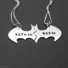 Batman and Robin Best Friend necklace set Personalized in sterling silver. Customizable Batman And Robin sterling silver best friend necklaces. Bijou Geek, My Best Friend, Best Friends, Friends Forever, Estilo Geek, Mode Geek, Cotton Cord, Best Friend Necklaces, Bff Necklaces