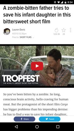 A zombie-bitten father tries to save his infant daughter in this bittersweet short film