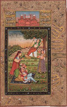 Mughal Miniature Painting Handmade Indo Islamic Script Paper Moghul Ethnic Art