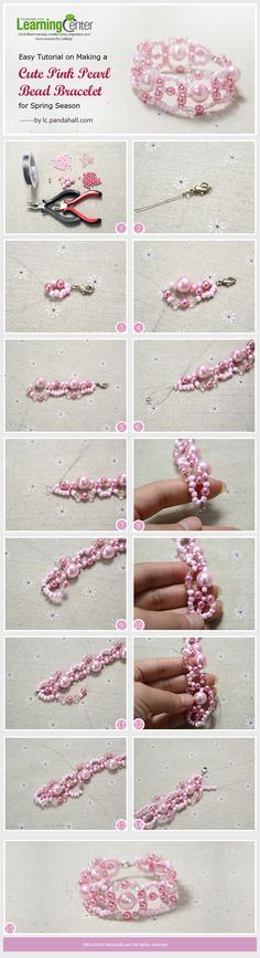 Easy Tutorial on Making a Cute Pink Pearl Bead Bracelet for Spring Season