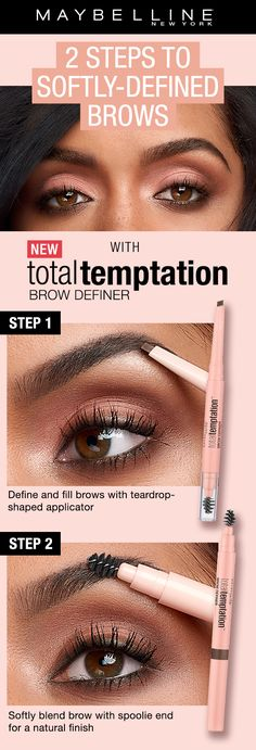 Two steps to perfect, softly defined and natural brows with NEW Total Temptation Brow Definer. First use, the unique teardrop shaped tip fill in and define the brows. Use the spoolie end to blend and create a natural look.