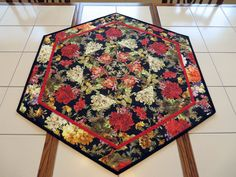 Quilts For Sale, Custom Quilts, Hexagon Shape, Small Tables, Custom Wall, Table Toppers, Centerpieces, Bohemian Rug, Best Gifts
