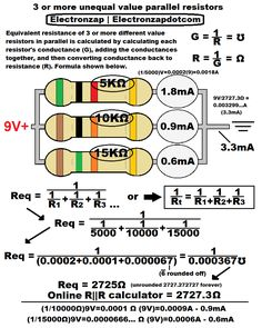 Calculating 3 or more parallel resistors with different values. Diagram will be used in upcoming video.