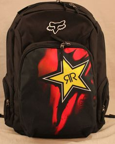 Fox Racing and Rockstar Energy Drink collaboration black backpack.  White, red & yellow logos