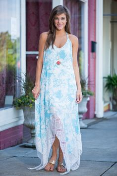 Long Summer Sways Maxi Dress, Sky Blue - The Mint Julep Boutique