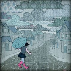 Umbrellas in the Rain  Art Print Signed 8x8 by Kecky on Etsy, $16.00