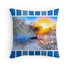 Fishing On The Flint River At Dawn - Georgia Landscape Throw Pillow