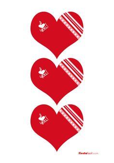 Festivos imprimibles de corazones, de www.fiestafacil.com / Festive heart printables, from www.fiestafacil.com