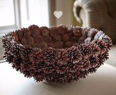 DIY Pine Cone Heart - Pine Cones are a great material for wreaths. Online source and sale of pine cones and pine needles. Pine cones for crafts, art and decor. Heart Shaped Pine Cone Wreath Rustic decor Wreath by F Pine Cone Art, Pine Cone Crafts, Pine Cones, Diy Home Crafts, Fall Crafts, Crafts To Make, Home Craft Ideas, Pine Cone Decorations, Diy Christmas Decorations Easy