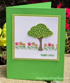Stamps: Sprinkles of Life. Ink: Cucumber Crush, Watermelon Wonder, Delightful Dijon. Paper: Cucumber Crush, Pear Pizazz, Whisper White, Tip Top Taupe card stock. Accessories: Tree Builder Punch, Dimensionals.