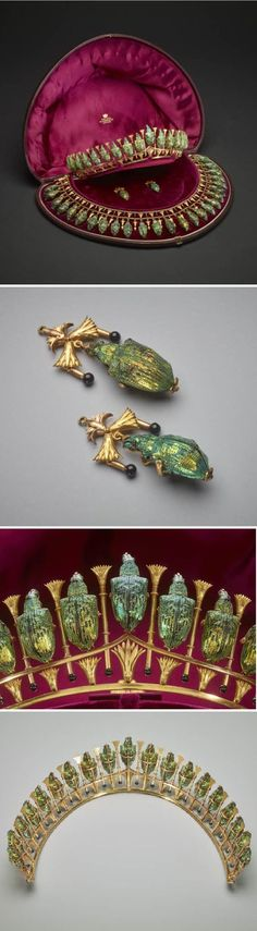 Lady Granville's beetle parure -   Parure of tiara, necklace and earrings formed of dried South American weevils (lamprocyphus augustus)with iridescent green wing cases, mounted in gold in the Egyptian taste with lotus motifs. On the necklace and earrings, the lotuses are interspersed with tiny gold rods ending in black enamel beads. Contained in the original case made of leather-covered steam-pressed wood with silk lining, and printed in gold inside the lid: 'Phillips, 23 Cockspur St…