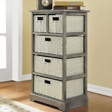 Attrayant Storage Unit 5 Baskets Shelving Wicker Sturdy Shelves Drawers Armoire  Organizer Basket Organization, Basket Storage