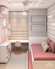 New small girls bedroom with tv Ideas Small Girls Bedrooms, Small Room Bedroom, Home Decor Bedroom, Teen Bedroom Designs, Small Space Interior Design, Cute Room Decor, Stylish Bedroom, Girl Room, House
