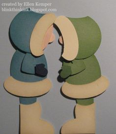 """EskimIo Kissses- like the one with just the nose peeking out - but I thought I'd show you both looks for your kissers    Hood - 1.75 circle repunched with sm oval at """"top""""  Face - sm oval  Nose - cir from itty bitty pk  Fur trims - lg oval near sm oval hole  Body - wide oval  Arm - wide heart to heart  Mitten - sm heart trimmed with scissors  Leg - sm oval - adj your """"height"""" by how much leg you show  Boot - Full heart - trimmed bottom, back, puched at top with med oval (or some circle if…"""