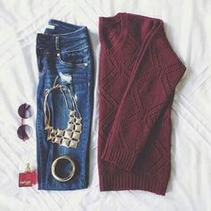 Maroon Sweater with Jeans and Jewelry #favorite_pin