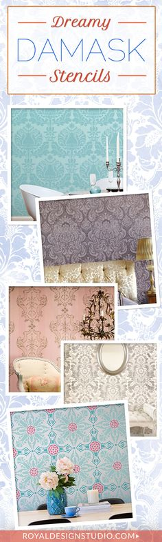 Damask Wall Stencils for Easy DIY Decorating - Wall Decor Designer Wallpaper Stenciling and Painting Pattern - Royal Design Studio