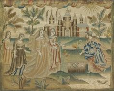 Embroidery (The Finding of Moses)  (c. 1675)  Artist/s name (ENGLAND)   Medium silk (satin, thread), mica, seed pearls Place/s of Execution (England) Accession Number 2013.79 Credit Line National Gallery of Victoria, Melbourne