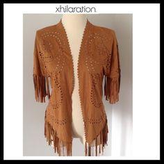 ✨✨HP✨✨XHILARATION Faux Suede Lasercut Kimono Vest XHILARATION Faux Suede Lasercut Kimono Vest. NWOT Xhilaration Jackets & Coats Vests