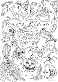 Halloween - Printable Adult Coloring Page from Favoreads (Coloring book pages for adults and kids, Coloring sheets, Colouring designs) Halloween Coloring Sheets, Witch Coloring Pages, Printable Adult Coloring Pages, Cute Coloring Pages, Disney Coloring Pages, Coloring Books, Pattern Coloring Pages, Free Coloring, Dragon Coloring Page