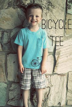 Bicycle Tee:  print out graphic, place under light colored shirt, trace with regular pen, go over with fabric marker, iron to set.  Easy!!