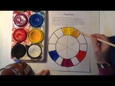 Färglära del 1 - Färgcirkel i tempera - YouTube