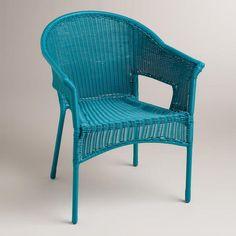 Blue All-Weather Wicker Tub Chair-World Market  Blue All-Weather Wicker Tub Chair. Stores only SKU# 438437 $79.99