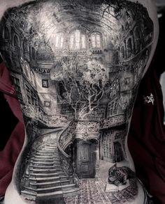Full back tattoo, winding stairs in a house with a tree pretty incredible detail Tattoos For Guys Badass, Back Tattoos For Guys, Full Back Tattoos, Weird Tattoos, Body Art Tattoos, Sleeve Tattoos, Cool Tattoos, Full Tattoo, Chicano Tattoos