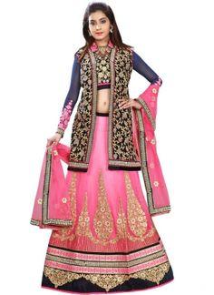 Blooming Navy Blue Pink Embroidery Work Chiffon Wedding Lehenga Choli