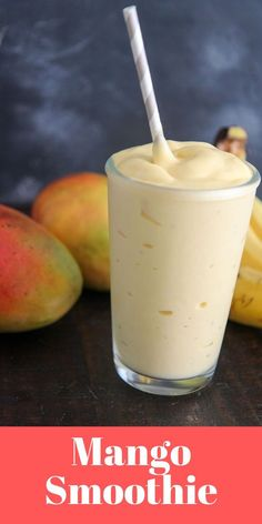 Delicious and thick smoothie made with bananas and mangoes. Mango Banana Smoothie, Mango Smoothie Recipes, Mango Recipes, Juice Smoothie, Smoothie Drinks, Fruit Smoothies, Healthy Smoothies, Healthy Drinks, Vegan Recipes