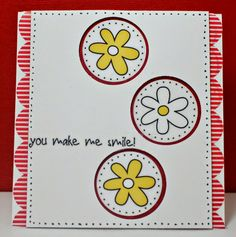 "Simply Elegant Paper Crafts blog; Stickers by the Dozen ""Thank You"" (daisies) and We've Got Your Border ""Bright"" (sentiment and red stripe scallop border.) #SRMstickers"