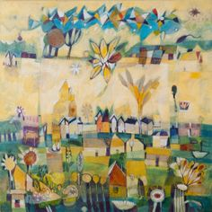 """Diane Culhane.  Title: July,  original, acrylics on canvas,  24""""x24""""1,  painted sides"""