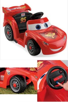 Ride On Car Electric Red 6V Battery Power Wheels Lightning McQueen Kids Race Toy #RideOnCar