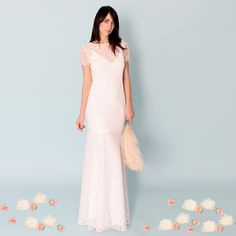 KALANI: CROCHET LACE PATTERNED WEDDING DRESS WITH CAP SLEEVES AND LOW BACK...