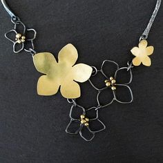 Cherry Blossom Necklace. Oxidized sterling silver and gold foil (keum-boo)