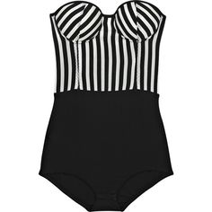 Rosa Chá Striped strapless bodysuit ($300) ❤ liked on Polyvore featuring tops, bodysuits, dresses, swimwear, women and rosa cha