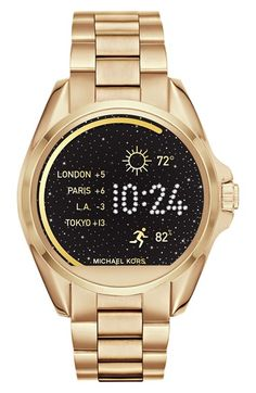 Free shipping and returns on MICHAEL Michael Kors Bradshaw Access Bracelet Smart Watch, 45mm at Nordstrom.com. Busy lifestyles call for a smart watch that lets you stay organized, in touch and ready for any late-coming developments or change of plans. Though it boasts a traditional everyday design, when synced to your smartphone, it displays all sorts of practical features, from text, e-mail and incoming call notifications to tracking of your daily activities. The sunray dial also features a…