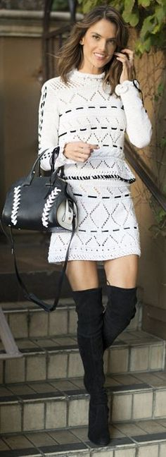 Who made Alessandra Ambrosio's black thigh high boots, white peplum sweater, skirt, and stitch handbag?