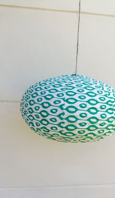 Green 60's cotton lamp by Lesflibustieres on Etsy