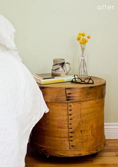 cool idea for a bedside table... although mine would never stay this neat.