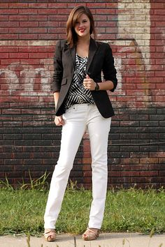 Never thought about a brown blazer with a b/w blouse.  Interesting...