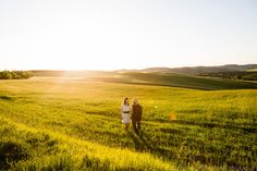 evening light for pre-wedding shooting in Val d'Orcia, Tuscany