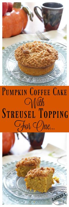 Buttery Pumpkin Coffee Cake with Streusel Topping, this irresistible single serving dessert is the perfect size for one person. It's a quick, easy-to-make recipe I know you'll love! Bursting with pumpkin flavor, it would be perfect with your morning coffee or tea!